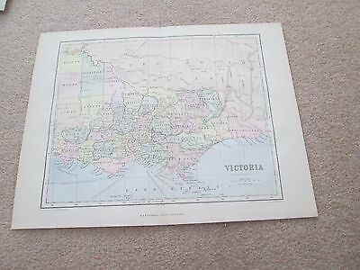 Old Antique 1874 Victorian Map of VICTORIA state in Australia      Chamber's Enc