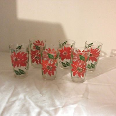 6 Vintage Christmas Poinsettia Glass Tumblers