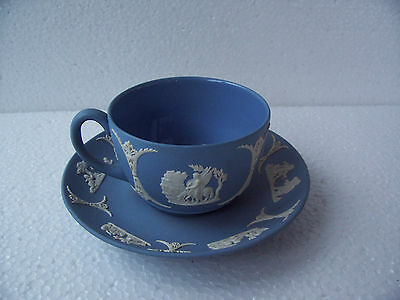 Wedgwood  Blue jasperware  cup/saucer in excellent condition.