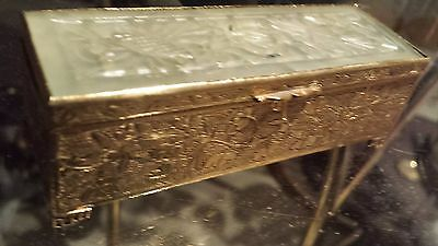 AMAZING SIGNED Bronze Box with Chinese Figural Jade Ornament