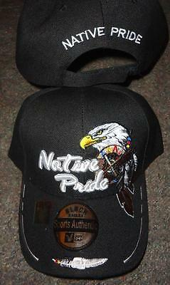 Native Pride NDN New Embroidered Black Bald Eagle Feathers Ball Cap Hat