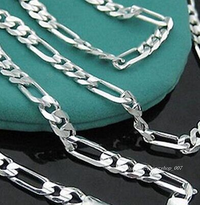 Hot! 1pc 925 Sterling Silver 6mm wide FIGARO Men NK Chain Necklace 20 inch