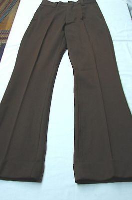 TEEN SIZE?  1970s Vintage FLARED CUFFED TEXTURED POLYESTER BROWN SLACKS PANTS