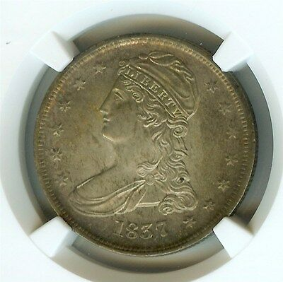 1837 Capped Bust Silver 50 Cents  Reeded Edge  Rare Type   Ngc Ms-65