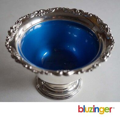 Vintage TOWLE STERLING SILVER Blue Enameled Compote Mayonaise Bowl #1020