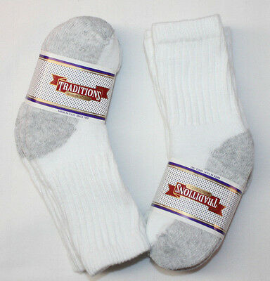Lot 6 Pair Toddler Boy's Cotton Sport Crew Socks, Gray Sole, Terry Lined, 2T-3T