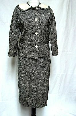 1960s Vintage JACKIE O CUTE BOW BACK TWEED 2 PIECE SUIT