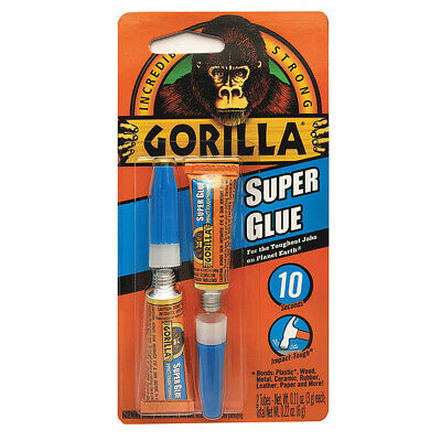 GORILLA GLUE 7800102 Super Glue, Instant Bonding, 2 - 3g Tubes