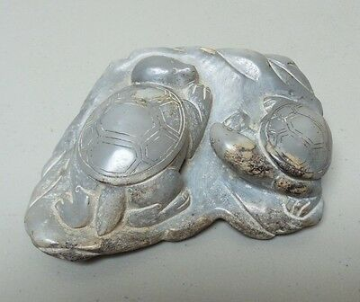 "Antique Chinese Carved Hard Stone 5.5"" Sculpture, Pair Turtles"