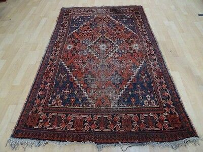 """PERSIAN RUG CARPET Wool HAND MADE  Vintage ANTIQUE 6ft 8"""" x 4ft 2"""" traditional"""