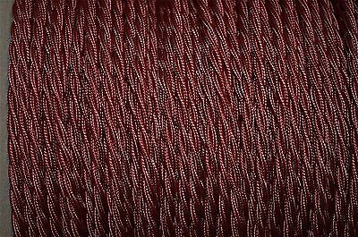 1 meter burgundy twisted vintage lamp light cable flex wire 3 core Anglepoise T4