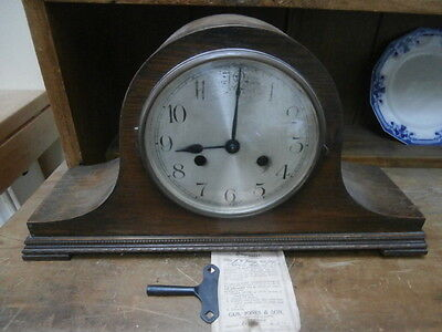 Vintage 1930's Oak cased Wellington Mantle Clock - spares or repair