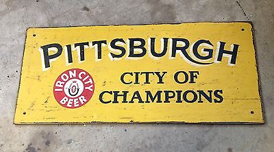 hand painted PITTSBURGH Champions IRON CITY BEER wood bar restaurant sign 4FT!