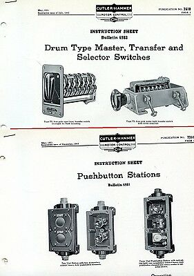 CUTLER HAMMER instruction BULLETINs 6981 6982 pushbutton stations + switches
