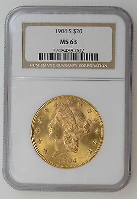 1904 S $20 Liberty Double Eagle. Ngc Ms63. Great Strike, Tough Date - 93608-1