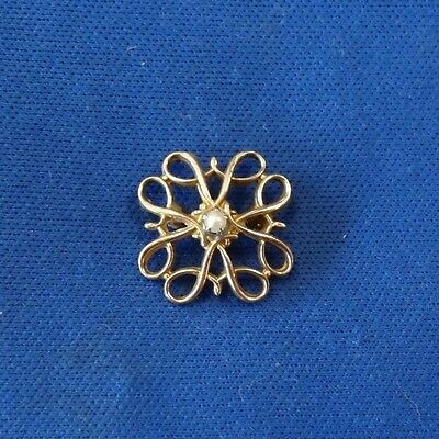 Vintage 10KT Yellow Gold Seed Pearl Pin Brooch
