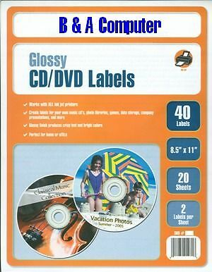 480 Pro Gloss CD/DVD Labels! Glossy Label! Neato Type!