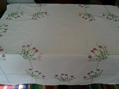 """LINEN FLOWERS EMBROIDERED TABLECLOTH vintage hand embroidery.  39"""" × 41"""""""