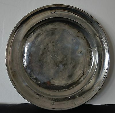 Large 18th Century Continental Pewter Plate or Charger.