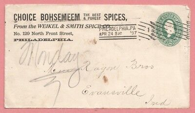 1897 Weikel Smith Spice Co Bohsemeem Advertising Cover Philadelphia Pa