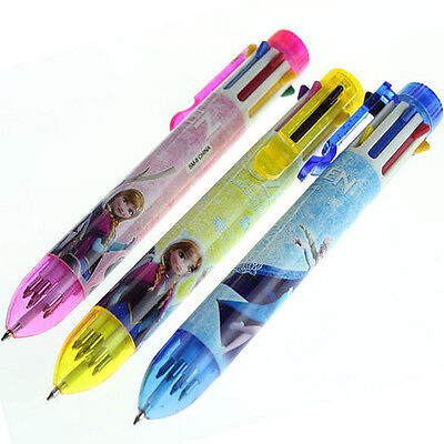 Fun Cute Frozen Multi Colors 8 Inks Automatic Ballpoint Pen Stationery Toy Gift