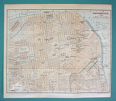"1899 MAP by Baedeker 8.5 x 10"" - USA San Francisco City Plan + Railraods"