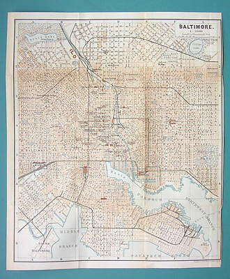 "1899 MAP by Baedeker 9.5 x 11.5"" - USA Baltimore City Plan + Railraods"