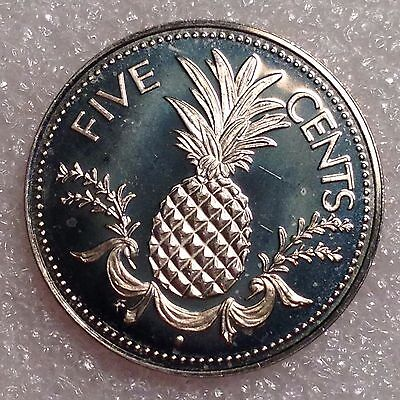 Bahamas 5 Cents 1974 Great PROOF Coin Copper-Nickel  #1288