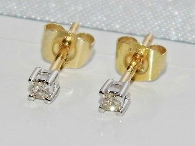 Beautiful 9ct Yellow Gold Princess Cut Diamond Ladies Solitaire Stud Earrings