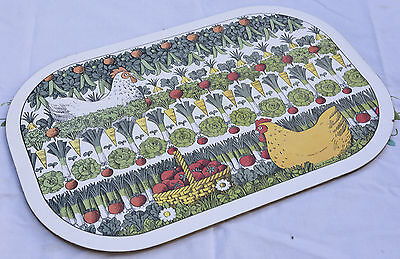 Vintage Melamine Chopping Board - Vegetables And Chickens