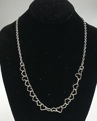"""Sterling Silver 925 Heart Link Chain Necklace 16"""""""