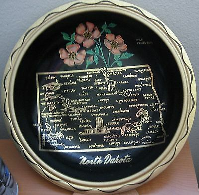 "Vintage North Dakota Serving Bowl 10""  Black Metal State Tourist Souvenir Tray"