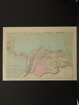 Antique Maps, 1873, Colombia, Venezuela, Central America R4#19