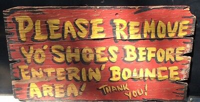 Vintage Antique Circus Carnival Hand Painted Sign Dogpatch USA Remove Yo Shoes