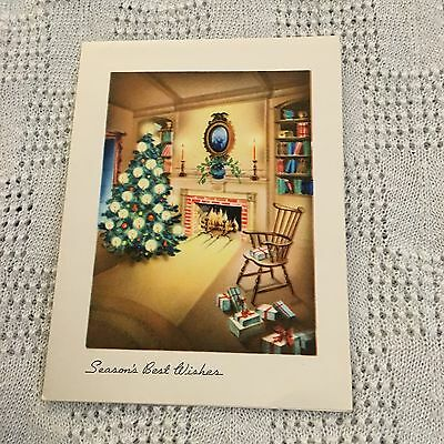 Vintage Greeting Card Christmas Fireplace Home Chair Tree