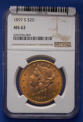 1897-S $20 Liberty Double Eagle Gold Coin NGC MS 62