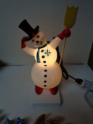 Magnificent Miller Electric Co - 1950's SNOWMAN w BROOM & PIPE