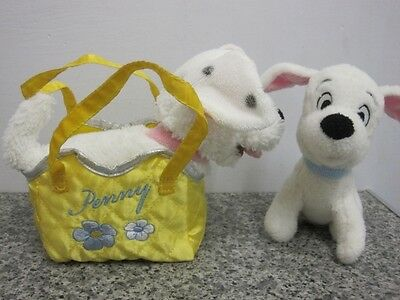 "7"" Penny In A Bag And 6"" Puppy 2 Disney Store 101 Dalmatian Soft Toy Dogs"