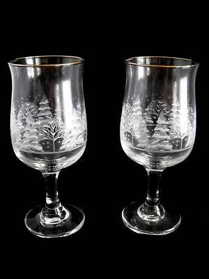 """Pair of Libbey White Pine Trees & Snow Glasses, Stand 7"""" Tall x 2-3/4"""" Wide, EC"""