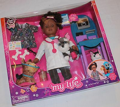 """My Life As 18"""" African American VETERINARIAN Set Vet Pet 2016 DOLL OF THE YEAR"""
