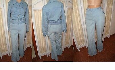 XS true vtg 70s hippie bell bottom jeans jacket 2 pc outfit high waist pant suit