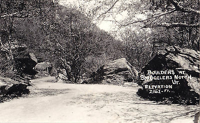 Boulders at 2162 ft Elevation Smugglers Notch VERMONT 1940s Real Photo Postcard