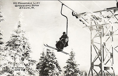 Mount Mansfield Lift Smugglers Notch STOWE Vermont 1952 © Richardson RPPC 1296