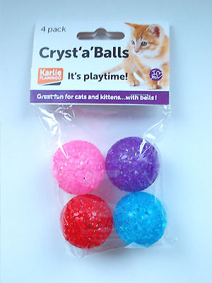 Karlie - Cryst 'a' Balls With Bells ( 4 Pack ) Cat & Kitten Toy - New