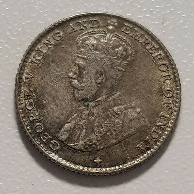 1919 Straits Settlements George V Silver 5 Cents UNC KM# 31