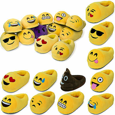 Cute Kids Adults Emoji Slippers Winter Warm Soft Indoor Home Cotton Casual Shoes