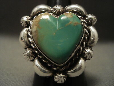 "Cute Vintage Navajo Natural Green Turquoise """"heart"""" Silver Ring"