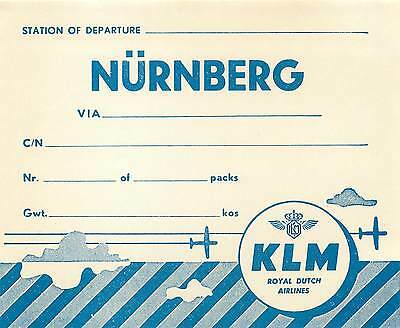 Klm Royal Dutch Airlines To Nurnberg Germany Old Cargo Aviation Luggage Label
