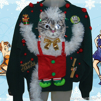 The Mother of All UGLY CHRISTMAS CAT SWEATERS~Elf Kitty, Lights Up! 44