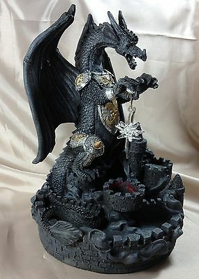 Gothic Dragon Staute 22cm High LIGHTS UP Castle Armour Incence Fantasy Magic New